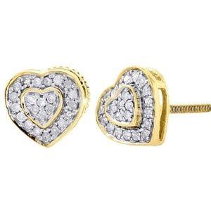 Jewelry - 18kt GF Round Cut Diamond Heart Stud Earrings